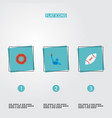set of usa icons flat style symbols with donut vector image vector image