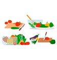 set organic and healthy food cooking icons vector image