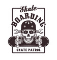 Skateboarding print with skull in helmet