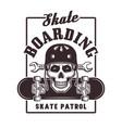 skateboarding print with skull in helmet vector image vector image