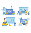 student reading and learning online courses vector image