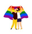 two gay people kissing under rainbow flag vector image vector image