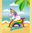 unicorn sits on the rainbow and drinks juice on th vector image