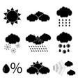 black silhouette meteorology icons set vector image