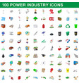 100 power industry icons set cartoon style vector image