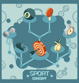 sport color isometric concept icons vector image