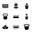 9 flowerpot icons vector image vector image
