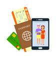 air ticket passport visa vector image vector image