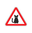 attention cat danger red road sign pet caution vector image vector image