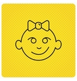 Baby girl face icon Child with smile sign vector image vector image