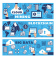 big data cloud cryptocurrency mining blockchain vector image