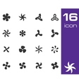 black fans and propellers icons set vector image