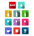 bottles glasses cups icons set with long shadow vector image