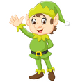 Cartoon Cute Christmas elf waving hand vector image