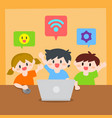 children learn computer or laptop vector image vector image