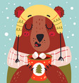 christmas and new year bear character drinking vector image