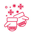 christmas mittens and snowflakes linear icon in vector image vector image