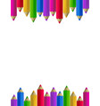 colour pencils border on white background vector image