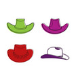 cowboy hat icon set color outline style vector image