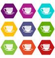 cup icon set color hexahedron vector image vector image