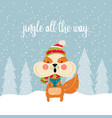 cute christmas card with squirrel singing carols vector image vector image