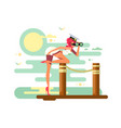 cute girl looks binoculars on wooden dock vector image