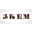 decorative capital letters j k l m for your vector image