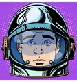 emoticon surprise Emoji face man astronaut retro vector image vector image