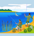 fishermen isometric composition vector image vector image