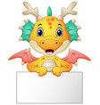 funny dragon cartoon holding blank sign vector image vector image