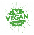 green vegan product lettering stamp vector image
