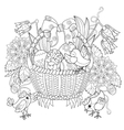 hand drawn doodle outline easter eggs in basket vector image