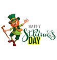 happy stpatricks day text greeting card red vector image vector image