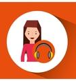 headphones music character girl pink shirt vector image vector image