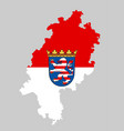 hessen map and flag silhouette vector image vector image