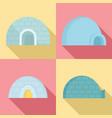 igloo icon set flat style vector image