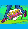 let s go travel message in pop art style vector image vector image