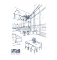 monochrome sketch of modern country house vector image vector image