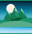 night landscape mountains hills moon and sky vector image vector image