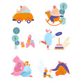 people with kids toys set tiny characters holding vector image