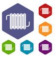 radiator icons set hexagon vector image vector image