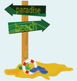road sign for the paradise beach vector image vector image