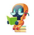 robot in glasses reading book in library clip art vector image