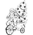 Santa Claus rides the bicycle vector image