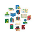 school books round composition vector image