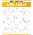 scribble black icon set animals farm i vector image