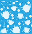 seamless pattern with cups teapots and chamomiles vector image