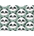 seamless pattern with cute panda faces and vector image vector image