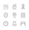 set line icons home decor vector image