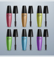set of mascaras for eyelashes colorful 3d vector image vector image